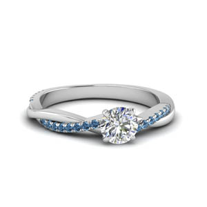 round cut infinity twist diamond engagement ring with blue topaz in FD8253RORGICBLTO NL WG