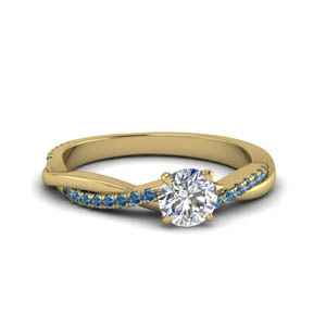 round cut infinity twist diamond engagement ring with blue topaz in FD8253RORGICBLTO NL YG