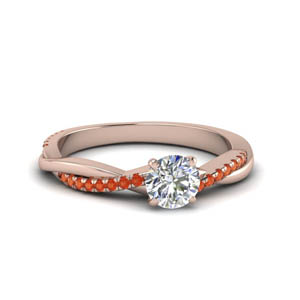 round cut infinity twist diamond engagement ring with orange topaz in FD8253RORGPOTO NL RG