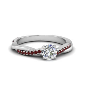 round cut infinity twist diamond engagement ring with ruby in FD8253RORGRUDR NL WG