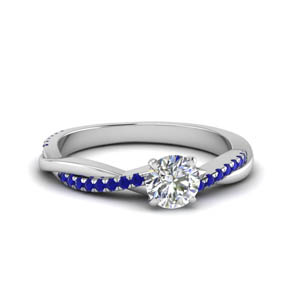 round cut infinity twist diamond engagement ring with sapphire in FD8253RORGSABL NL WG