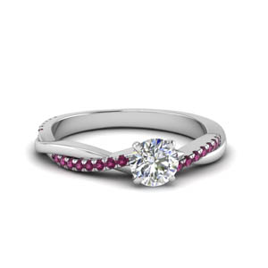 round cut infinity twist diamond engagement ring with pink sapphire in FD8253RORGSADRPI NL WG