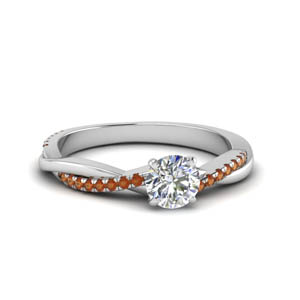 round cut infinity twist diamond engagement ring with orange sapphire in FD8253RORGSAOR NL WG