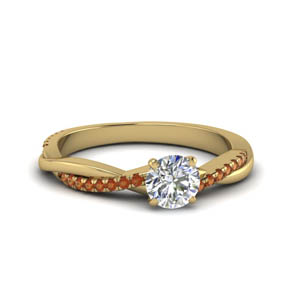 round cut infinity twist diamond engagement ring with orange sapphire in FD8253RORGSAOR NL YG