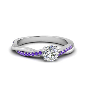 round cut infinity twist diamond engagement ring with purple topaz in FD8253RORGVITO NL WG