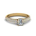 emerald cut micropave natural diamond engagement ring in 14K yellow gold FD8254EMR NL YG