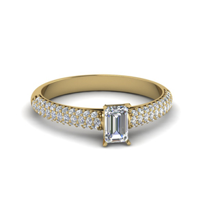 Emerald Cut Moissanite Side Stone Rings