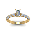 emerald cut micropave natural diamond engagement ring in 14K yellow gold FD8254EMRANGLE5 NL YG