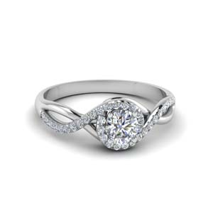 round cut twisted halo diamond engagement ring in 14K white gold FD8268ROR NL WG