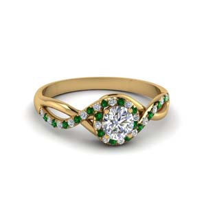 Twisted Halo Emerald Ring