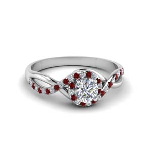 Halo Round Ring With Ruby