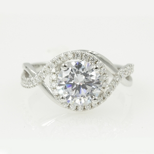 Twisted Halo Round Moissanite Ring