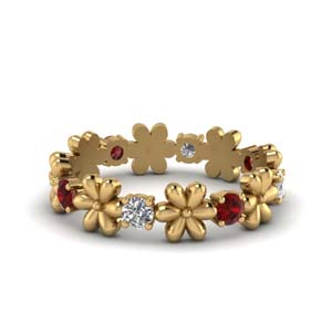 Floral Ruby Eternity Band