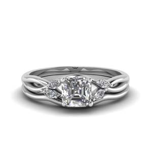 Asscher Cut Twisted Diamond Ring Set