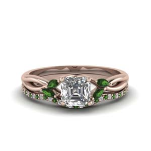 Split Shank Ring Set With Emerald