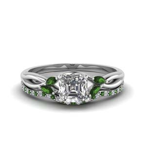 Platinum Emerald Twisted Bridal Set