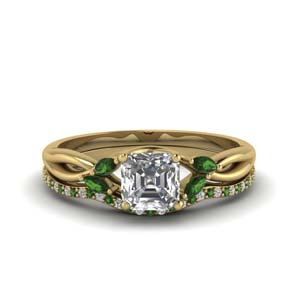 Asscher Cut Braided Emerald Bridal Set