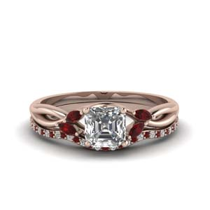 18K Rose Gold Asscher Diamond Ring Set