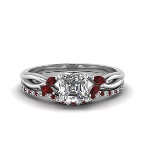 asscher cut twisted diamond bridal set with ruby in FD8300ASGRUDR NL WG
