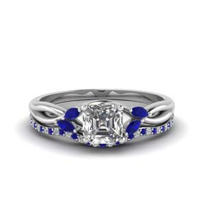 Twisted Sapphire Wedding Set