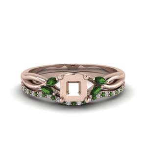 Semi Mount Emerald Wedding Set