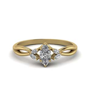 Marquise Cut Twisted Petal Diamond Ring