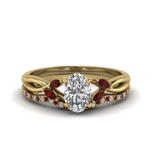 oval shaped twisted diamond bridal set with ruby in FD8300OVGRUDR NL YG