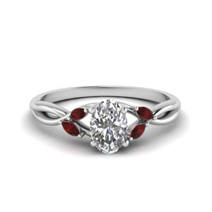 Twisted Platinum Ruby Ring