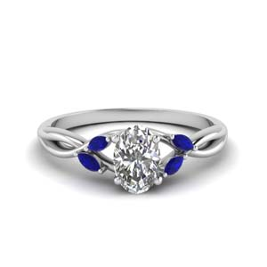 Oval Shaped Twisted Sapphire Ring