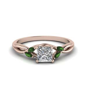 Emerald Petal Design Twisted Ring