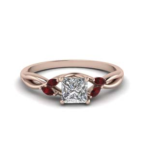 Princess Cut Petal Ruby Ring
