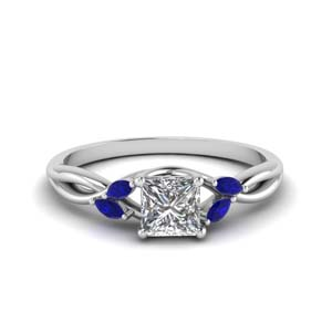 Sapphire Princess Cut Twisted Ring