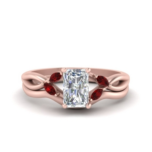 Vine Bridal Ring Set With Ruby