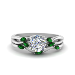 Emerald 18K White Gold Ring Set