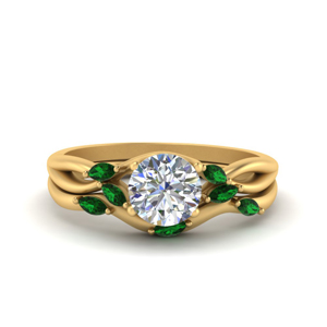 Split Shank Emerald Engagement Ring Set