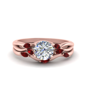 Ruby Split Bridal Set 18K Rose Gold