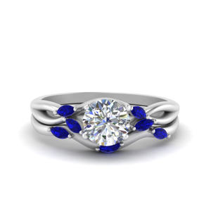 Platinum Sapphire Twisted Wedding Set