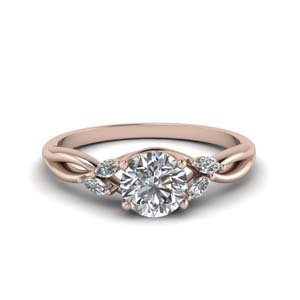 round cut twisted petal diamond engagement ring in FD8300ROR NL RG