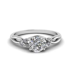 round cut twisted petal diamond engagement ring in FD8300ROR NL WG