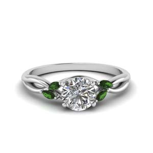 round cut twisted petal diamond engagement ring with emerald in FD8300RORGEMGR NL WG