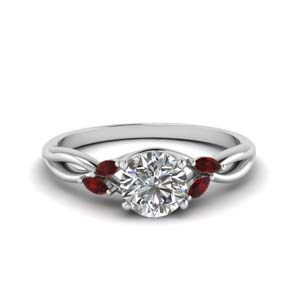 round cut twisted petal diamond engagement ring with ruby in FD8300RORGRUDR NL WG