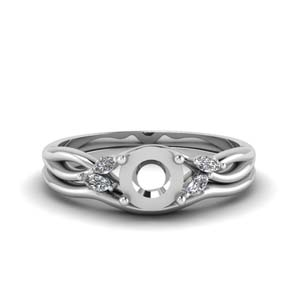 semi mount twisted diamond engagement ring with matching curved band in FD8300RSM NL WG