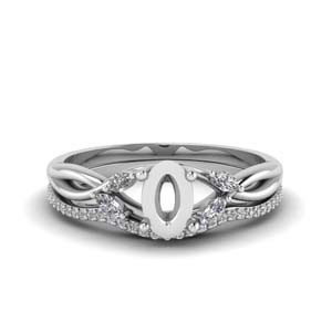 Oval Shaped Semi Mount Ring Set