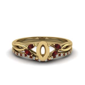semi mount twisted diamond bridal set with ruby in FD8300VSMGRUDR NL YG