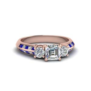 asscher cut 3 stone channel accent diamond engagement ring with sapphire in FD8313ASRGSABL NL RG