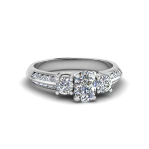 cushion cut 3 stone channel accent diamond engagement ring in FD8313CUR NL WG