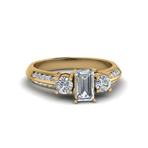 1 Ct. Emerald Cut 3 Stone Engagement Ring