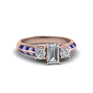 emerald cut 3 stone channel accent diamond engagement ring with sapphire in FD8313EMRGSABL NL RG