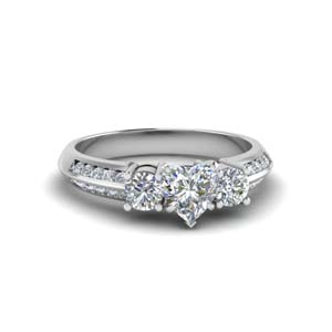 heart shaped 3 stone channel accent diamond engagement ring in FD8313HTR NL WG