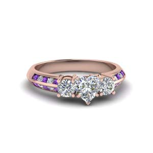 heart shaped 3 stone channel accent diamond engagement ring with purple topaz in FD8313HTRGVITO NL RG